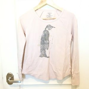Waffle Knit Pink Sweater w/ Penguin & Gold Details